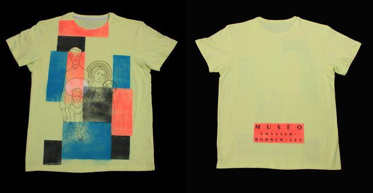 """Diseño de Leopoldo González Mulero inspirado en Theo van Doesburg """"Composicion XX"""",  Bernardo Daddi """"La virgen con el niño"""", Egon Schiele """"Autorretrato"""" y Egon Schiele """"Muchacha sentada"""" #CamisetasThyssen"""