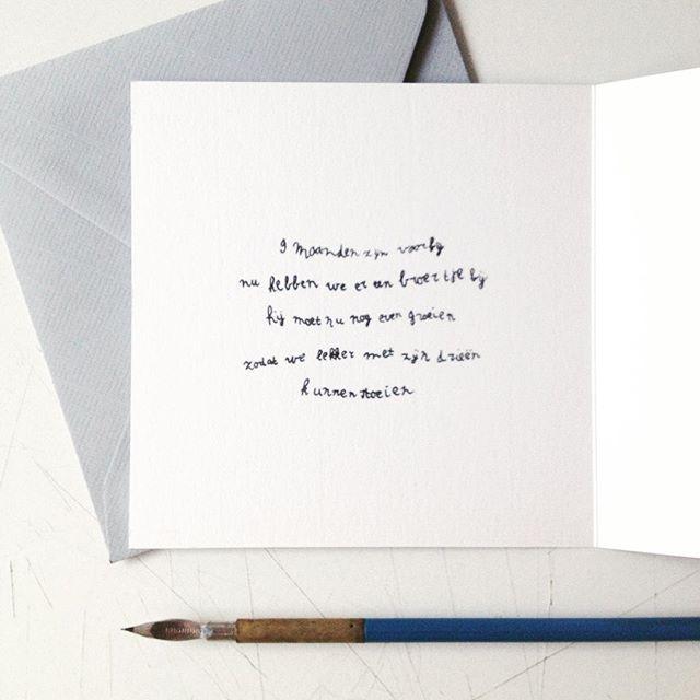 Een handgeschreven gedichtje aan de binnenkant van een geboortekaartje ❤️#geboortekaart #birthannouncements #handgeschreven #handmade #studiokuuk