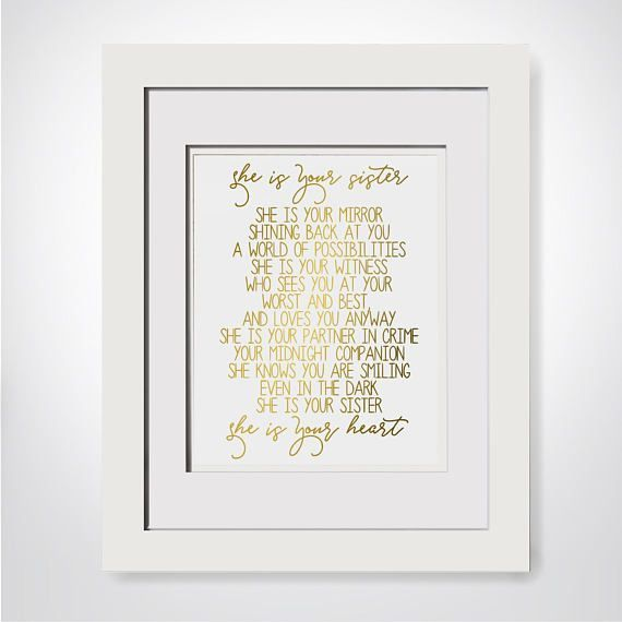She Is Your Sister She Is Your Mirror Sisters Quote Print