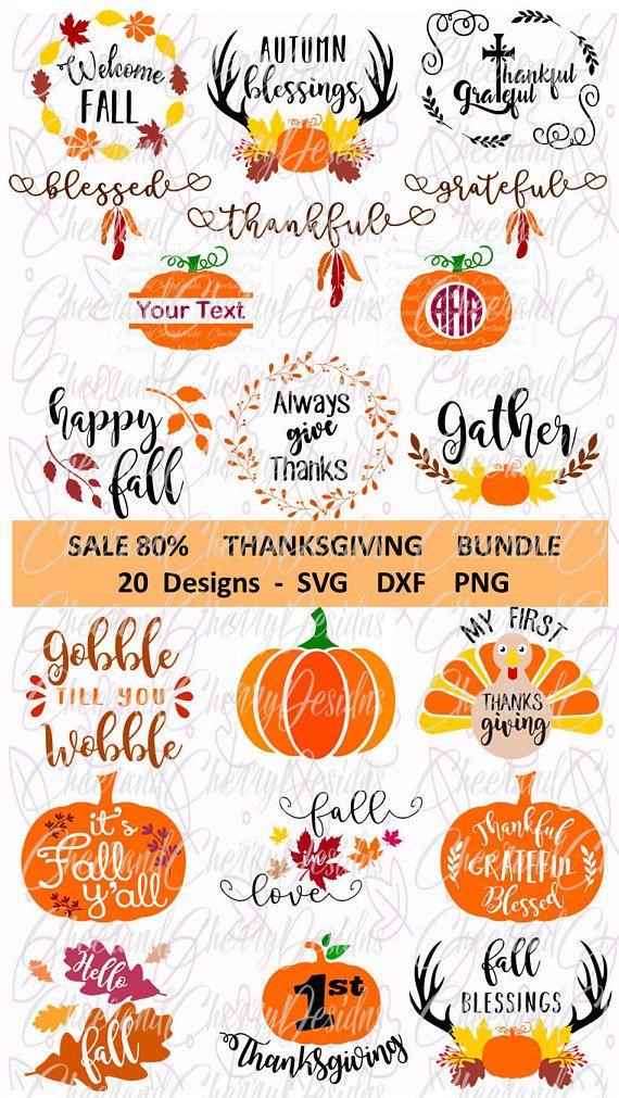 Thanksgiving SVG Bundle Fall Svg Bundle Pumpkin Svg for