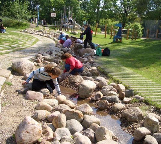 DESIGN FOR PLAY [QUEST] Build streams and splash pools for rain play. Temporary water courses allow children to track the path of rain and discover where water goes after a rain storm [Springzaad, The Netherlands].