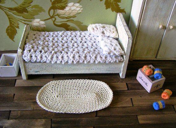 Miniature rug dollhouse rug crochet rug  12th by DewdropMinis