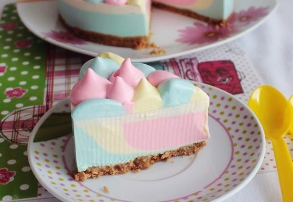 Receta de Cheesecake arcoíris sin horno