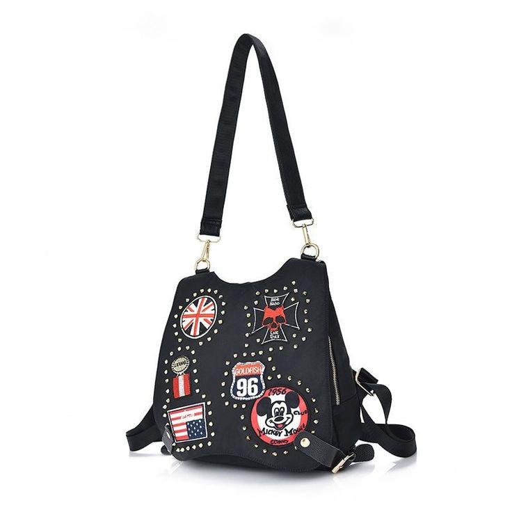 Unique Rivet-Accent Trendy Black Leather Ladies Backpack 6 Styles