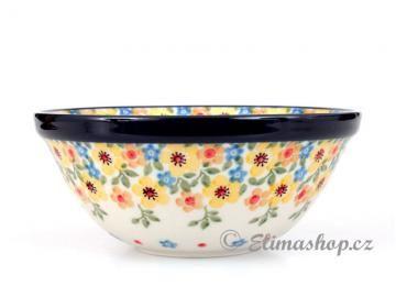 Spring pattern BOWL 14, 5cm . This Handmade Polish Pottery bowl is from ELIMAshop.cz . Boleslawiec . Bunzlau . ceramics . stoneware . spring design ( miska KLASIK 14,5cm . jaro )
