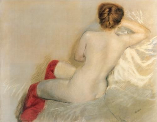 Giuseppe de Nittis - Nude with Red Stockings, 1879, pastel on paper