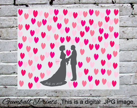 """Wedding Tree Guestbook. Personalized with your names and date. Make an impact! This is a digital .JPEG file, 16x20"""". We design. You print."""