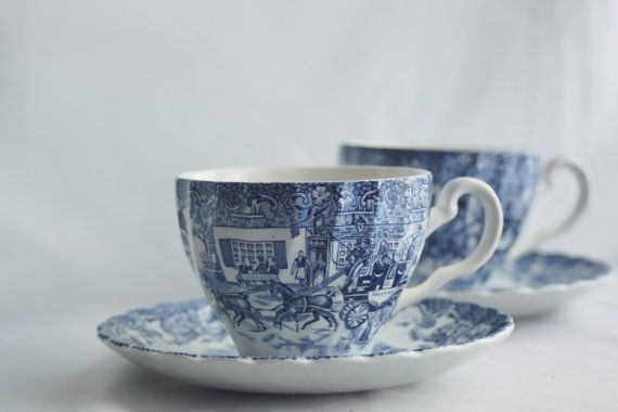 Johnson Brothers Teacup Set Coaching Scenes Teacup by HildasAttic