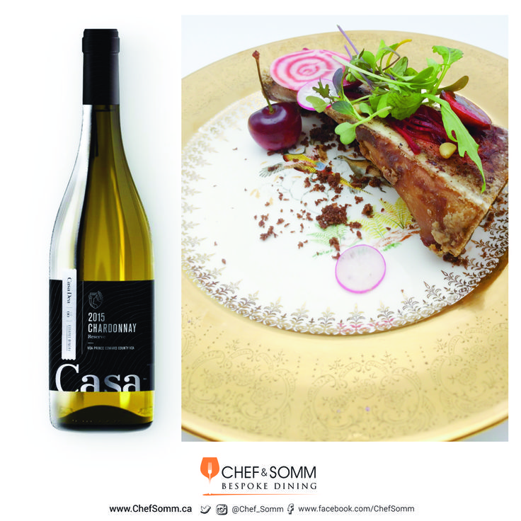 Casa-Dea Chardonnay Reserve with Roasted Bone Marrow, Shaved Beets, Chocolate Streusel, and Red Cherries. More about the pairing on our FB and IG pages