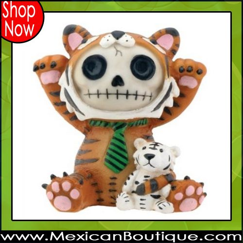 Brown Tigrrr with Small Tiger Furry Bones Collectible Statue