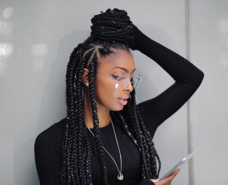 Triangle Box Braids Braided Hairstyles Pinterest