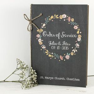Floral Chalkboard Order Of Service - wedding stationery