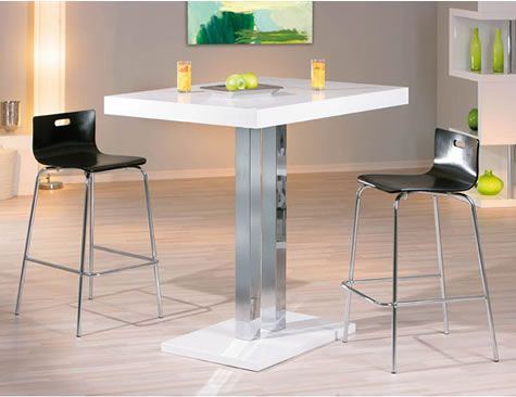 Rasq Tall Kitchen White Poseur Bar Table White High Gloss Square Top