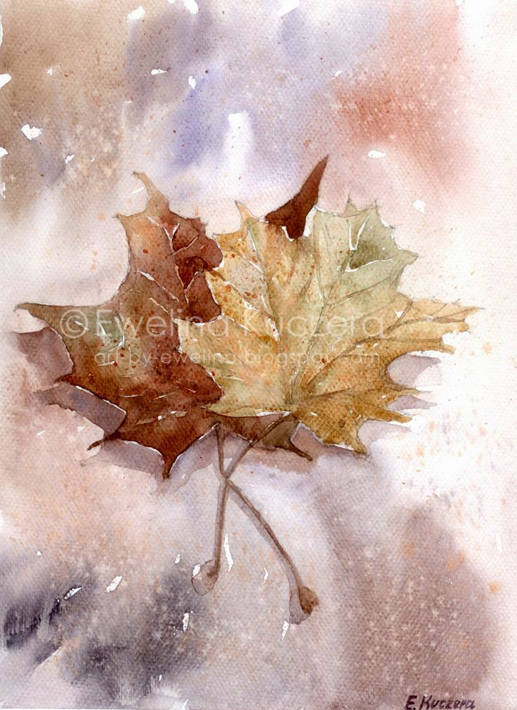 Autumn leaves, A4.  #autumn #leaves #art #painting #watercolor #brown #yellow #illustration #fallingleaves #leaf #maple #mapleleaf #ewelinakuczera