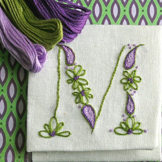 Crewel Embroidery Kit  DIY Pattern pdf  Monogram by PrairieGarden