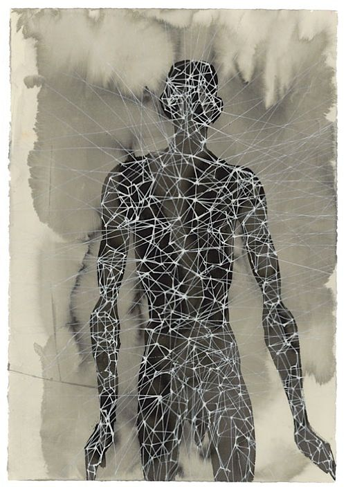 Antony Gormley - Another Singularity, 2006, carbon and casein on paper