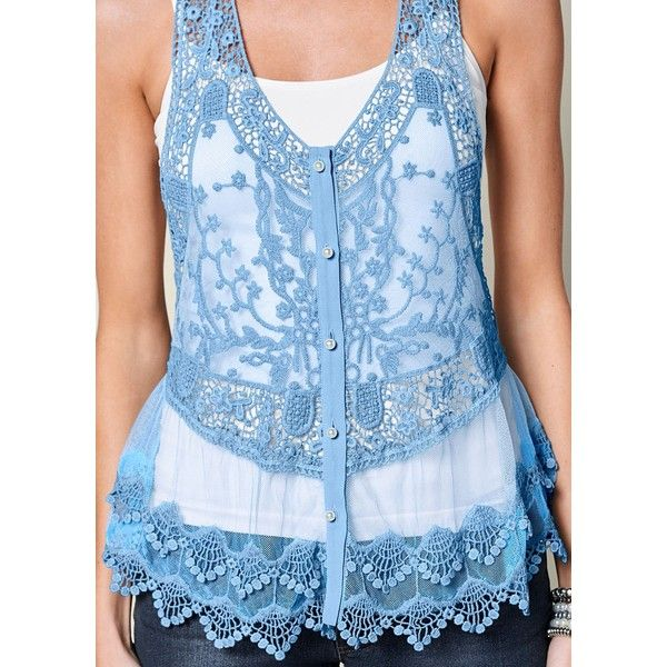 Venus Women's Lace Button Front Tops (€20) ❤ liked on Polyvore featuring tops, blue cami top, lace camisole top, blue lace camisole, blue top and lacy cami