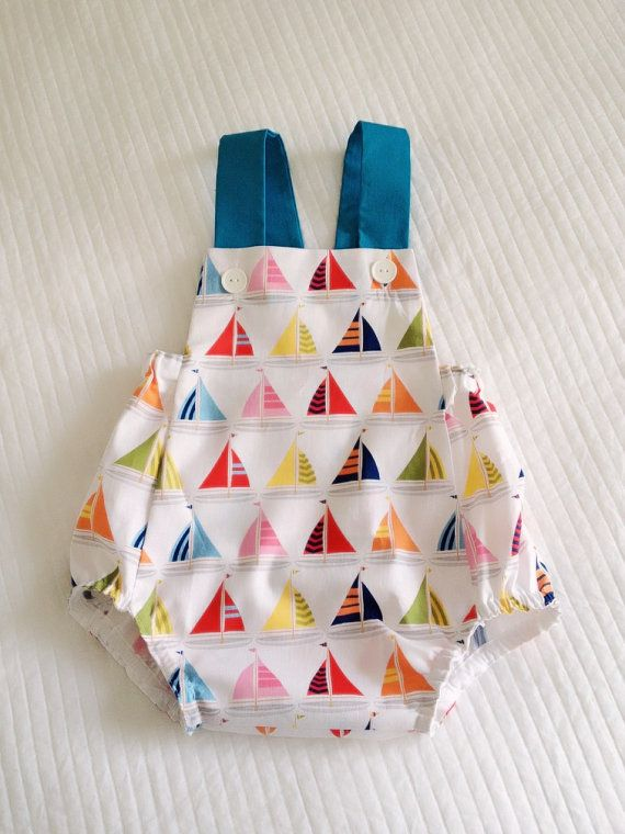 Boys vintage romper  Multi Coloured Boats by GagaBabyCouture, $36.00