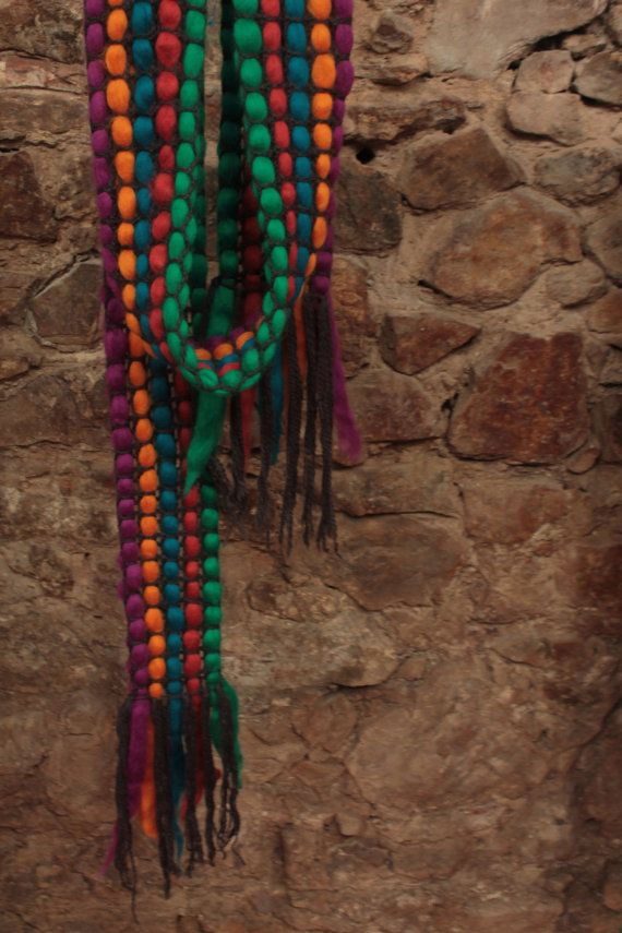 Multicolor scarf Tops wool scarves Colorful by quirogaquiroga