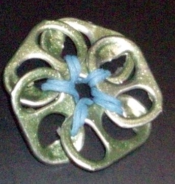 green and blue pop tab flower