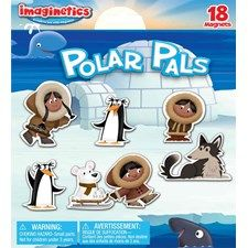 Contains one play-board and one magnet sheet, which includes 18 individual magnets. Children can create a fun scene with penguins, Eskimos and other vibrantly colored magnets over-and-over again! #polarpals #arctic #magnets #imaginetics