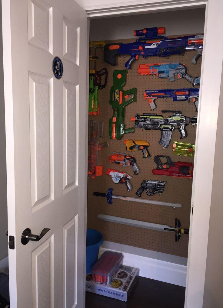 Nerf gun closet.