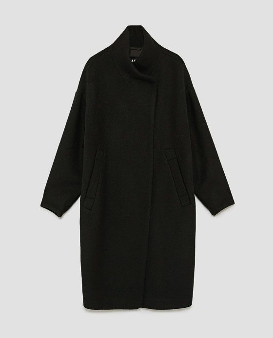 Image 8 of LONG COAT WITH WRAPAROUND COLLAR from Zara