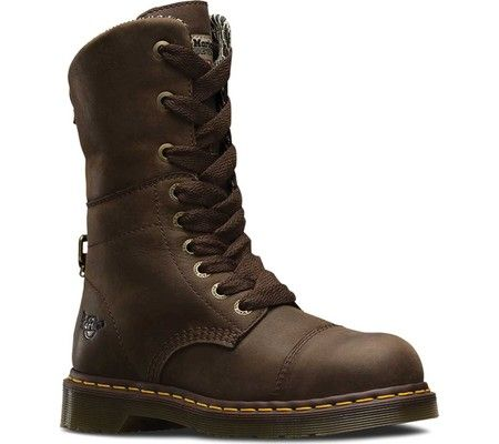 Women's Dr. Martens Leah Steel Toe Boot - Dark Brown Wyoming with FREE Shipping & Exchanges. The Leah Steel Toe Boot is a lace up style from the Heritage collection. It features a steel toe for