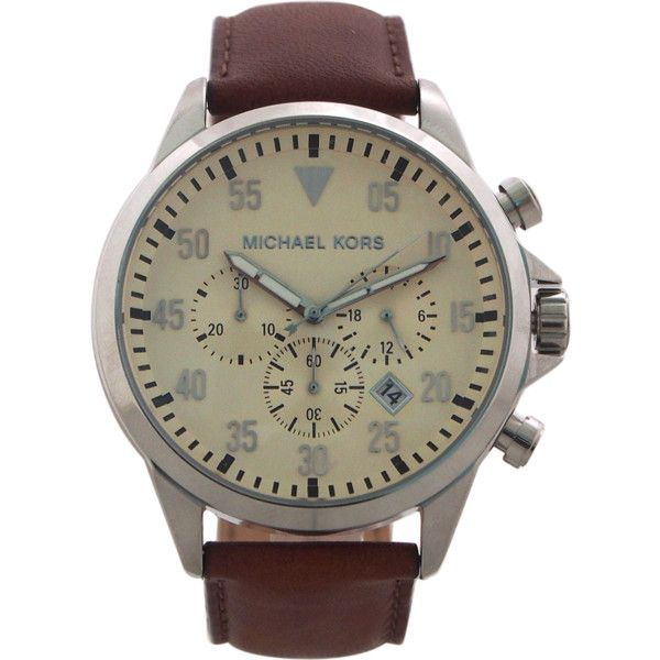 Michael Kors Mk8441 Chronograph Gage Chocolate Leather Strap Watch... ($169) ❤ liked on Polyvore featuring men's fashion, men's jewelry, men's watches, brown, watches, mens brown leather strap watches, michael kors mens watches, mens leather strap watches, men's blue dial watches and mens analog watches