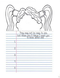 children's self-portrait templates, writing prompts for september, writing prompts for back to school,