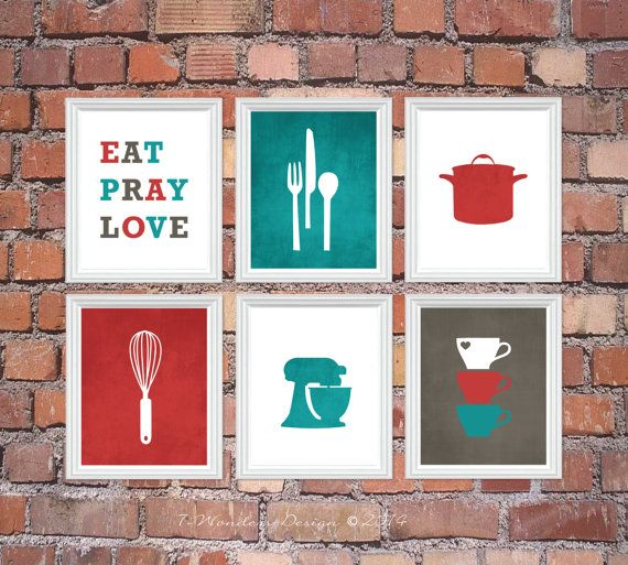 Kitchen Art Print Set Eat Pray Love Utensil Appliance Silhouettes Set Of 6 5x7 Or 8x10 Red Turquoise Charcoal Grey Kitchen Art