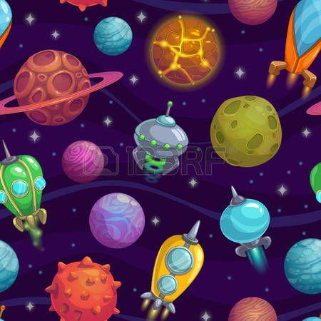 terek: Zökkenőmentes minta rajzfilm bolygók és űrhajók