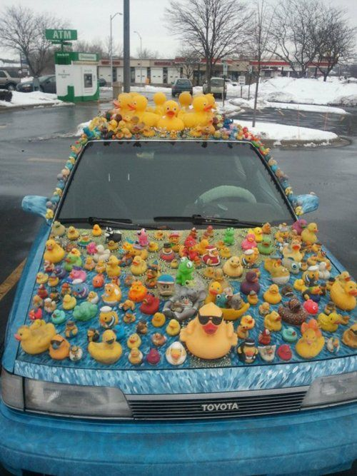 Gotta do this at least once in my lifetime...maybe not to the car, but perhaps at work?! (rubber ducky)