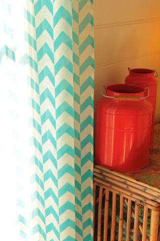 Curtains, Sheer -1 x Pair. Caper. Aqua. – Lily Fink