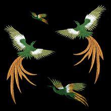 2 pezzi/lotto phoenix uccello combinazione del merletto del ricamo pasta panno patch di tessuto applique accessori fai da te senza gum(China (Mainland))