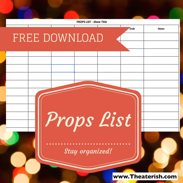 A great, all-encompassing props list. Plus a travel log to track movements on and off the stage! #theaterish