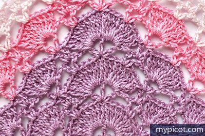 MyPicot | Free crochet patterns: Lace Shawl Pattern photo tutorial (for first 6 rows) plus diagram to download.