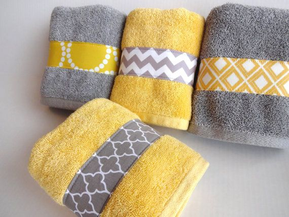 Yellow and Grey Bath Towels, yellow and grey, yellow and gray, yellow bathroom, grey bathroom, decorated towels, hand towel,