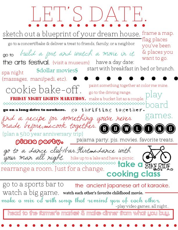 I've seen so many date night ideas on pinterest. i decided to compile different lists and take ideas that Dave & I would actually like to do...
