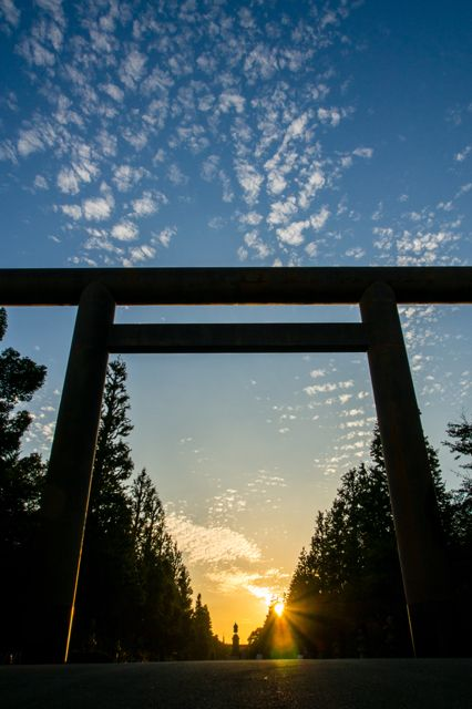 Torii gate of Yasukuni Shrine, Tokyo, Japan the most controversial shrine in Japan