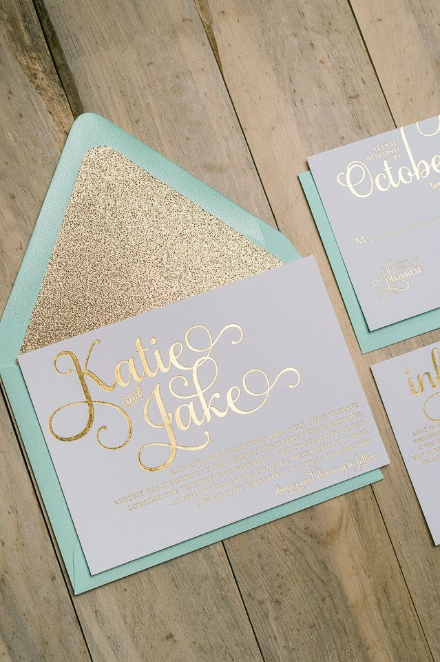 Amazing mint and gold glitter wedding invitations! ADELE Suite Glitter Package, mint envelopes, gold glitter envelope liners, gold foil stamping