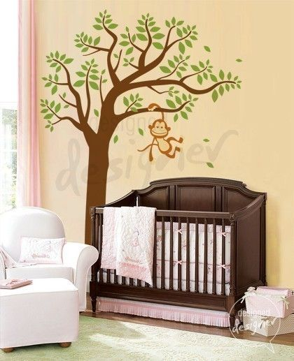 6 Monkey on tree - Kids Wall Stickers, Nursery Wall Decals + fun room accessories! - Leafy Dreams Nursery Decals