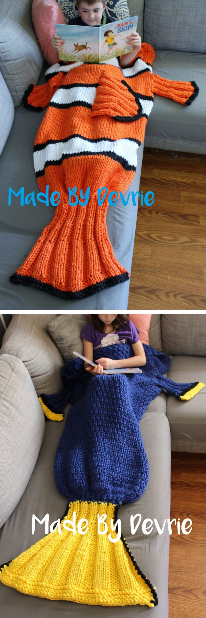 Knitting Patterns for Nemo and Dory Tail Blankets - Clown fish and Blue Tang fish snuggle sacks.The blankets are flat for the first half, which will make getting into them easier, and then closed off like a sleeping bag at the base of the tail to keep your feet nice and warm. Toddler, child and adult sizes! Designed by MadebyDevrie