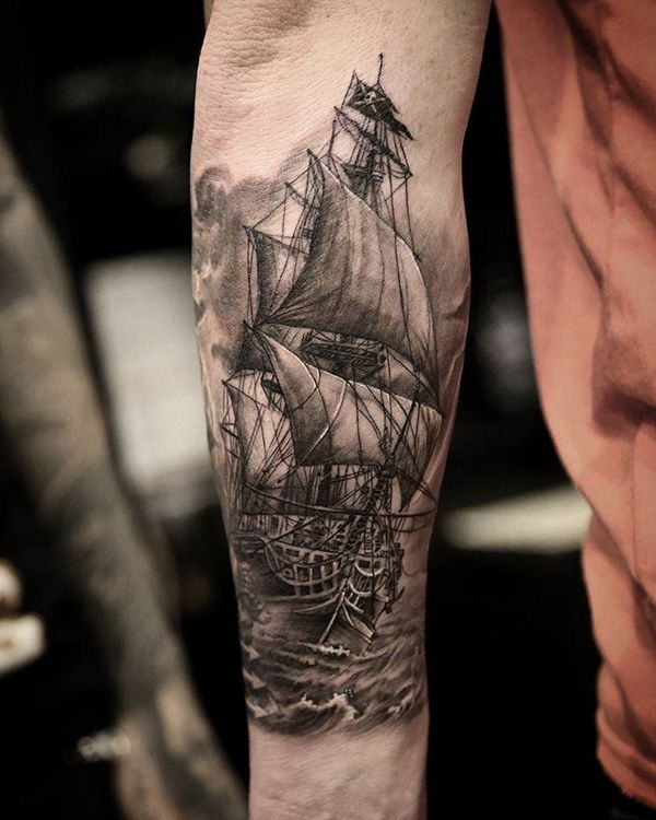 Boat forarm tattoo - 100 Boat Tattoo Designs <3 <3