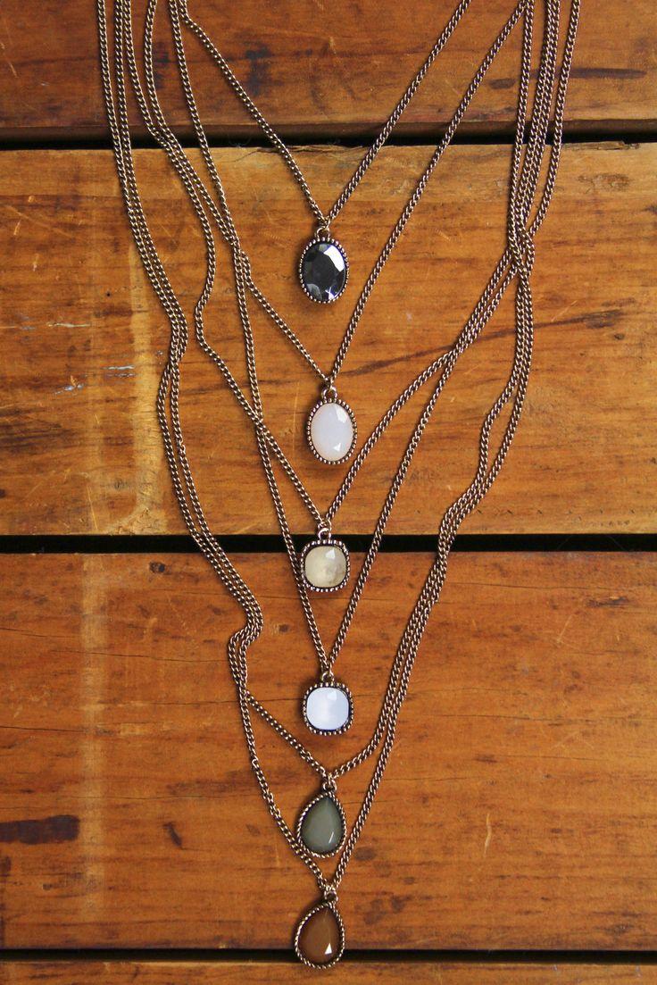 Six Layer Desert Stone Necklace