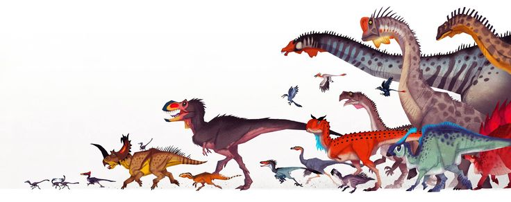 "Josef Egerkrans | ""loads of different dinosaurs running collectively over the page"" 