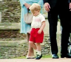 Prince George running away after his sister's christening. July 5, 2015.
