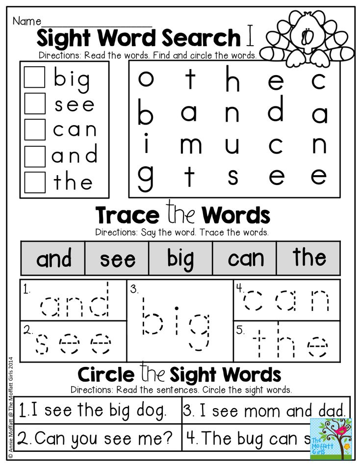 Sight Word Practice! Sight word word search, trace the sight word and read a simple sight word sentence!