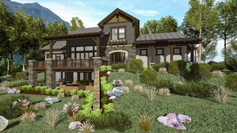 Rugged Craftsman Retreat Idea For A Rear Sloping Lot - 64459SC | Architectural Designs - House Plans