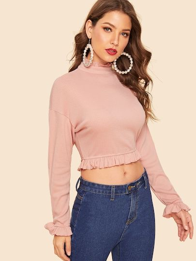 d1e8fe2650 80s Mock Neck Frill Trim Crop Ribbed Top in 2019 | Colorful Tops|Two ...